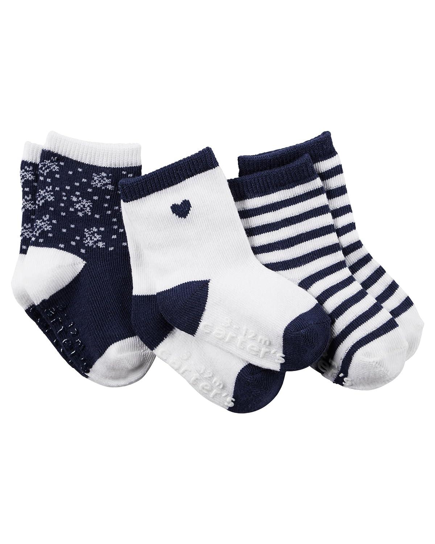 Carters Girls 3 Pk Blue//White Crew Socks 3-12 Months