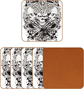 Coasters for Drinks Cool Three Skull Head Leather Square Mug Cup Pad Mat for Protect Furniture, Heat Resistant, Kitchen Bar Decor, Set of 6