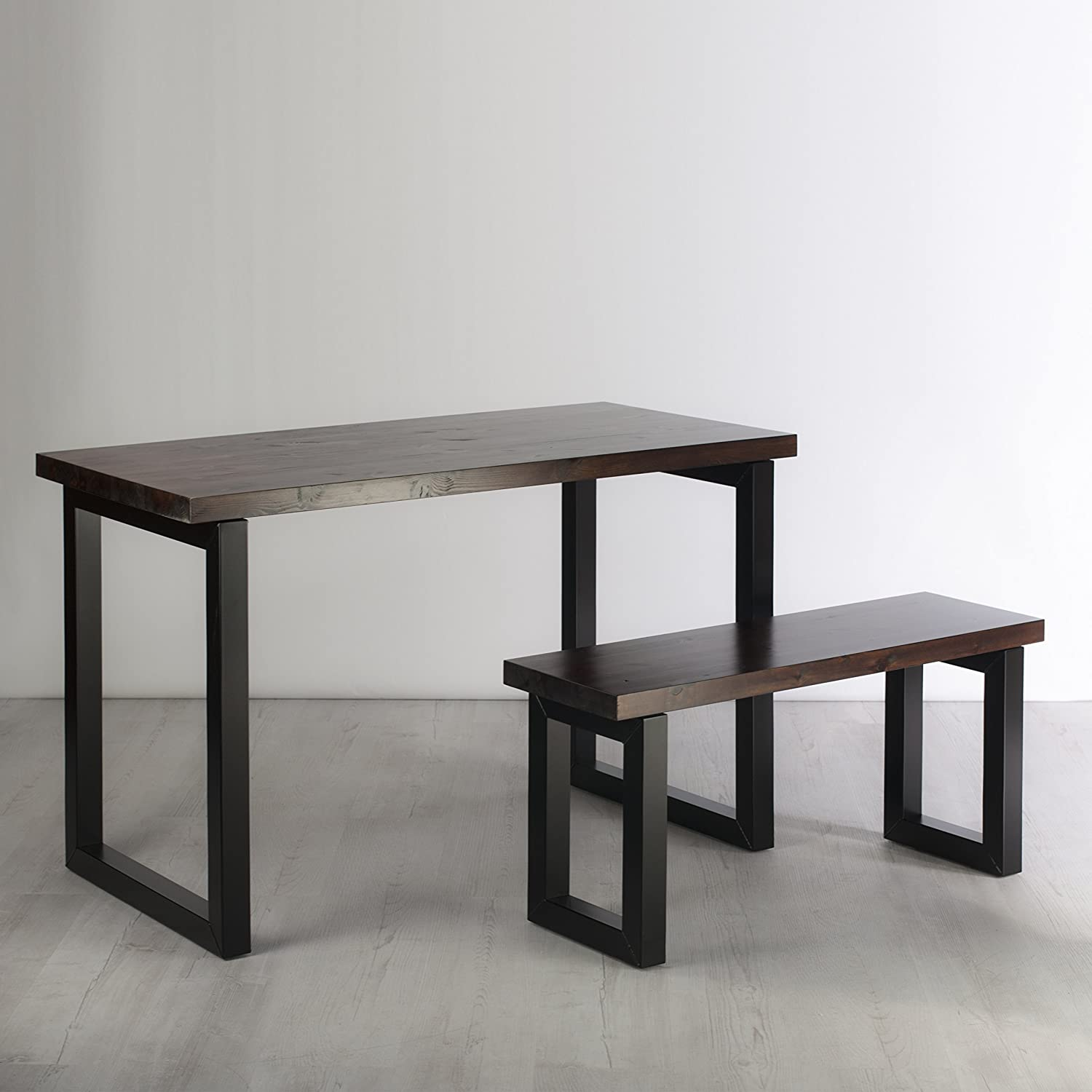 Solid Wood Industrial Desk with Bench - Rustic Jacobian Dark