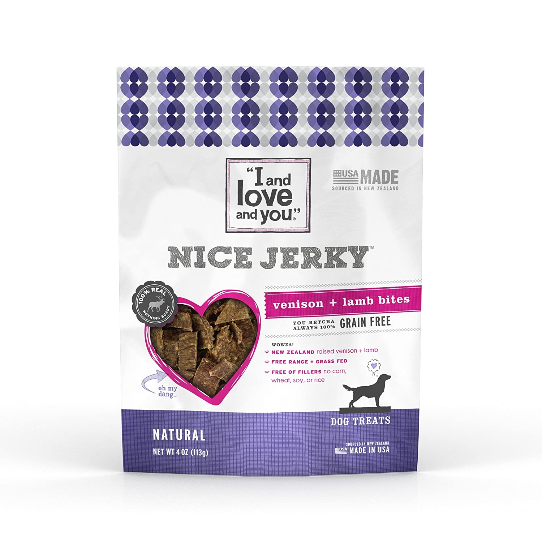 """I and love and you"", Natural Jerky Dog Treats, Venison & Lamb"