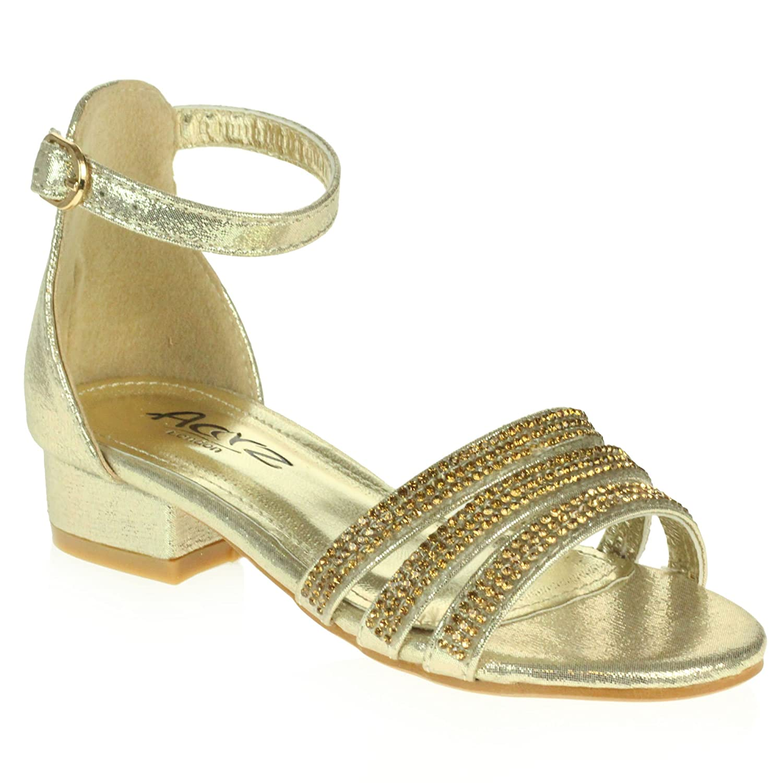 AARZ LONDON Girls Kids Sparkly Diamante Comfort Evening Party Block Heel Sandals Shoes Size C447
