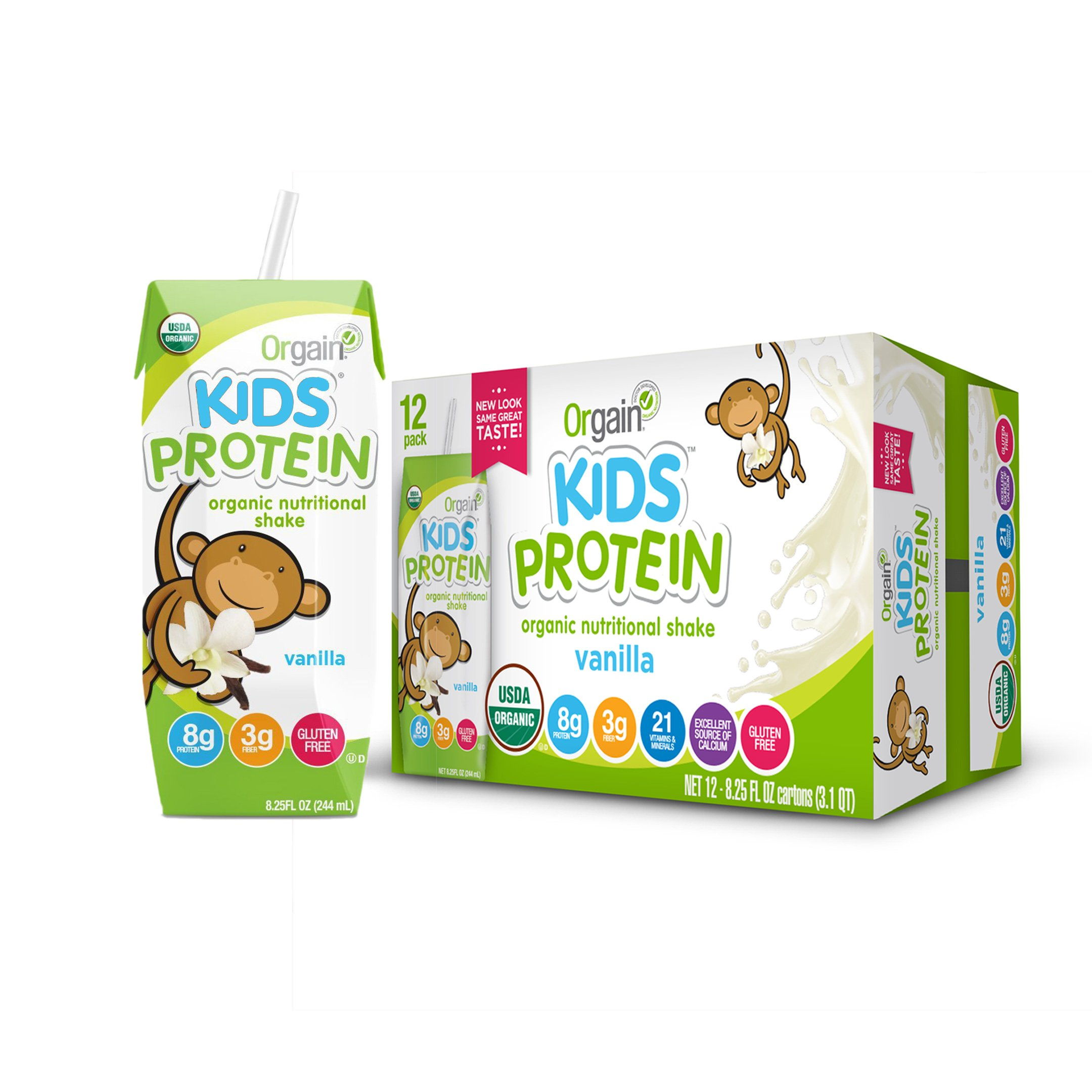 Orgain Organic Kids Protein Nutritional Shake, Vanilla - Great for Breakfast & Snacks, 21 Vitamins & Minerals, 10 Fruits & Vegetables, Gluten Free, Soy Free, Kosher, Non-GMO, 8.25 Ounce, 12 Count by Orgain