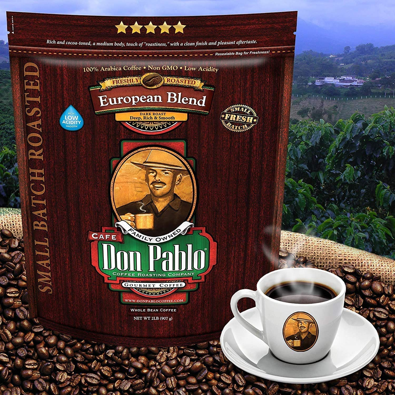 Cafe Don Pablo Gourmet Coffee European Blend - Dark Roast - Whole Bean Arabica Coffee - 907g Bag: Amazon.co.uk: Grocery