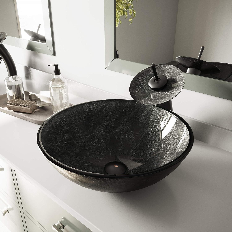 Vigo Vg07051 16 5 16 5 W 6 0 H Gray Handmade Countertop Glass Round Vessel Bathroom Sink In Gray Onyx Finish
