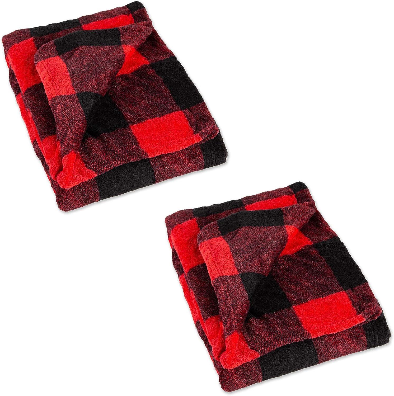 J & M Home Fashions Print Buffalo Check Plush Fleece Throw Blanket, 2 Pack, Red