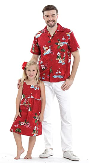 508b36b59 Matching Father Daughter Hawaiian Luau Outfit Christmas Men Shirt Girl Dress  Red Santa Flamingo: Amazon.co.uk: Clothing