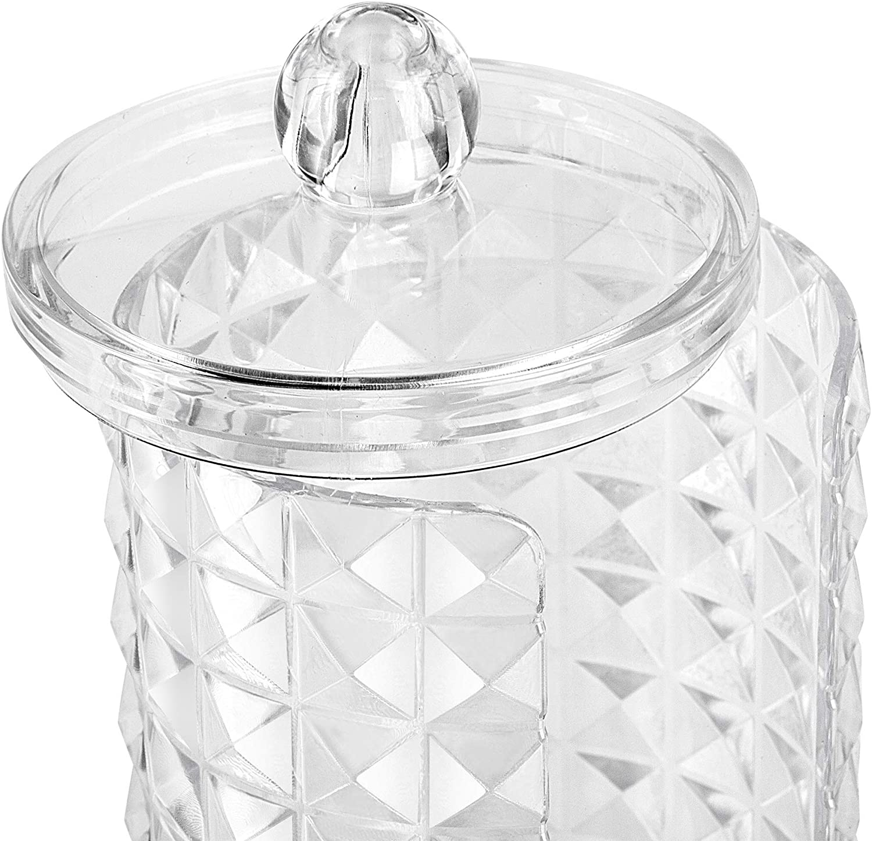 Wattest/äbchen-Halter und Mehrzweck-Zylinder-Aufbewahrungsbox mit Kunststoff-Deckeln Diamant Wattepad-Halter Overroo Make-up-Organizer-Set