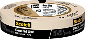 "Scotch Painter's Tape 051131870178 3M 2025-24C Masking Tape for Basic Painting.94-Inch by 60.1-Yard, 0.94"" Width, kkkk"