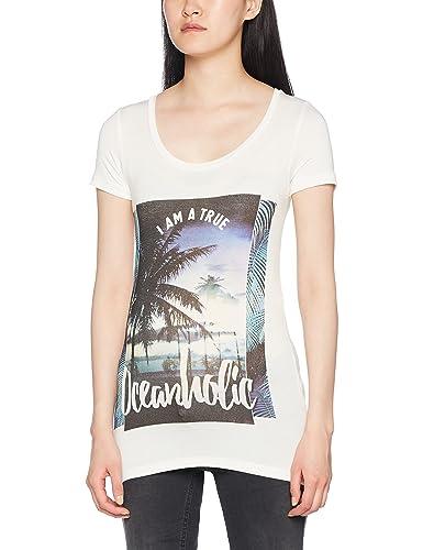 MAMALICIOUS Mlbeachy S/S Jersey Top, Camicia Donna-Vestiti di Maternità, Bianco (Snow White Snow Whi...