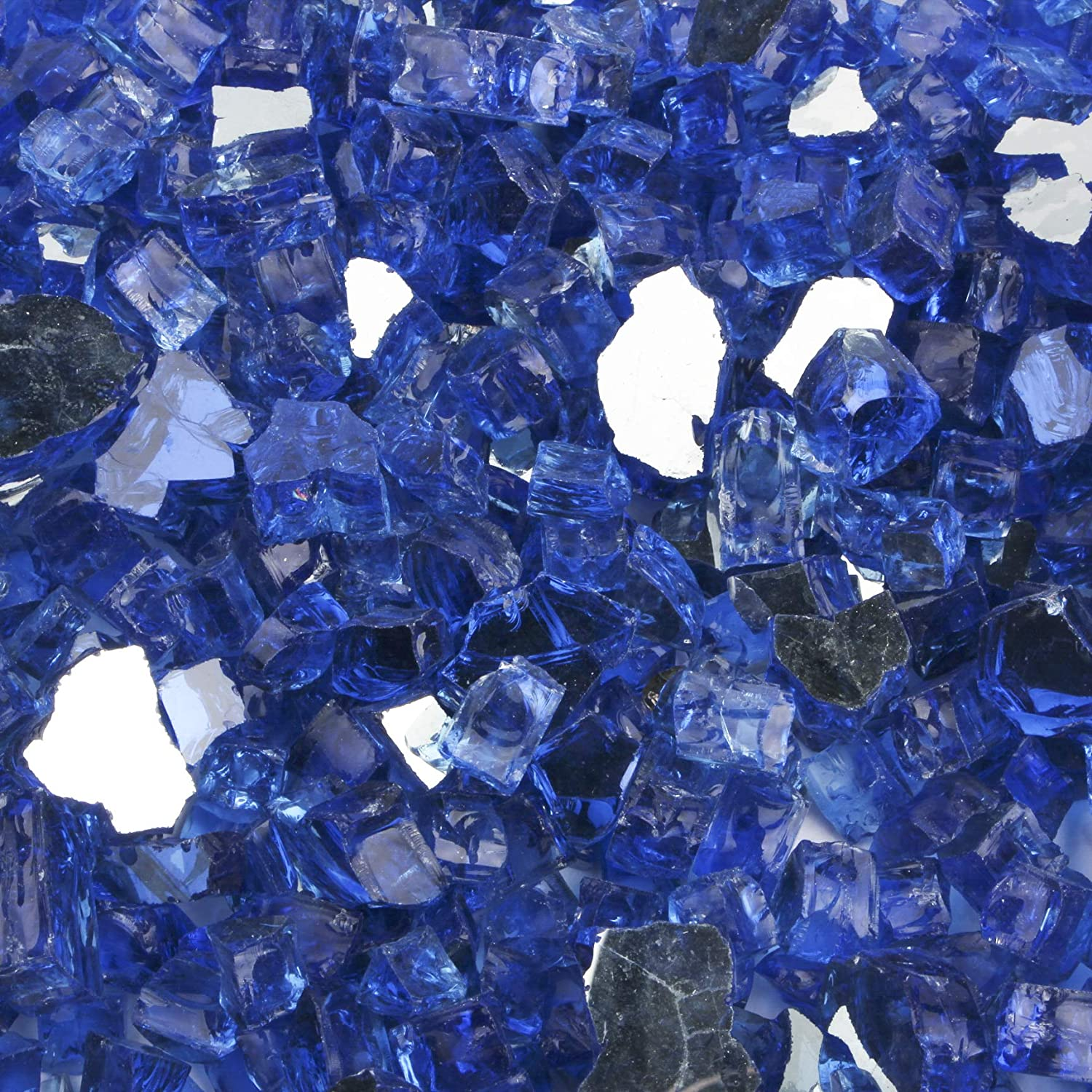 B07CTHZJGB Li Decor 10 Pound 1/2 Inch Fire Glass High Luster Tempered Fireglass Outdoor Cobalt Blue Reflective 81gfJmm-H0L