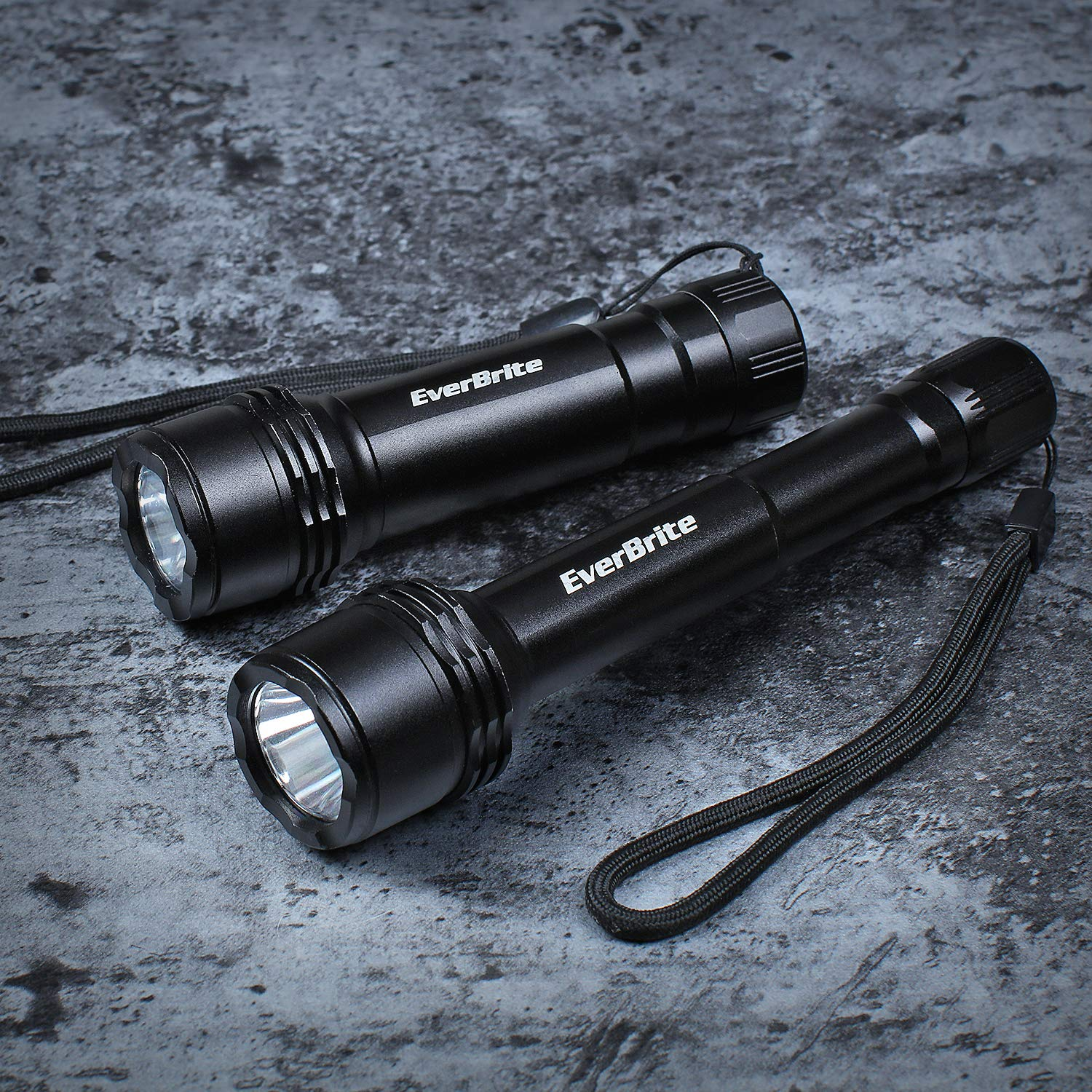 CREE LED Flashlights with 3 Light Modes for Camping and Hiking Alkaline Batteries Included EverBrite 2-piece Tactical Flashlight Set