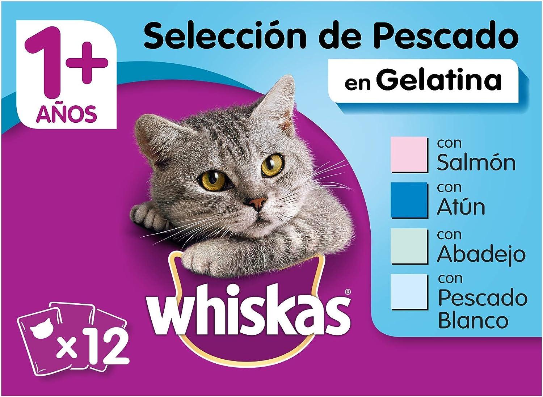 Whiskas Selección Multipack Bolsitas de Comida Húmeda para Gatos Adultos Selección Pescados (4 cajas x 12 bolsitas x 100g)