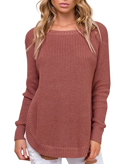 1bd8dc091741 Simplee Women s Crew Neck Raglan Sleeve Knitted Pullover Sweater Side Split  at Amazon Women s Clothing store