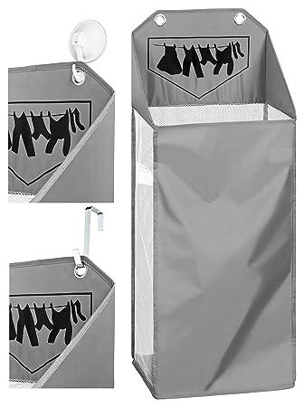 TOPP4u hängender Wäschekorb grau für Ordnung im Badezimmer, platzsparender  Kleiner Wäschesammler für 40 Ltr / 4 kg Wäsche, 32x21x58 +21 cm, mit 2 ...