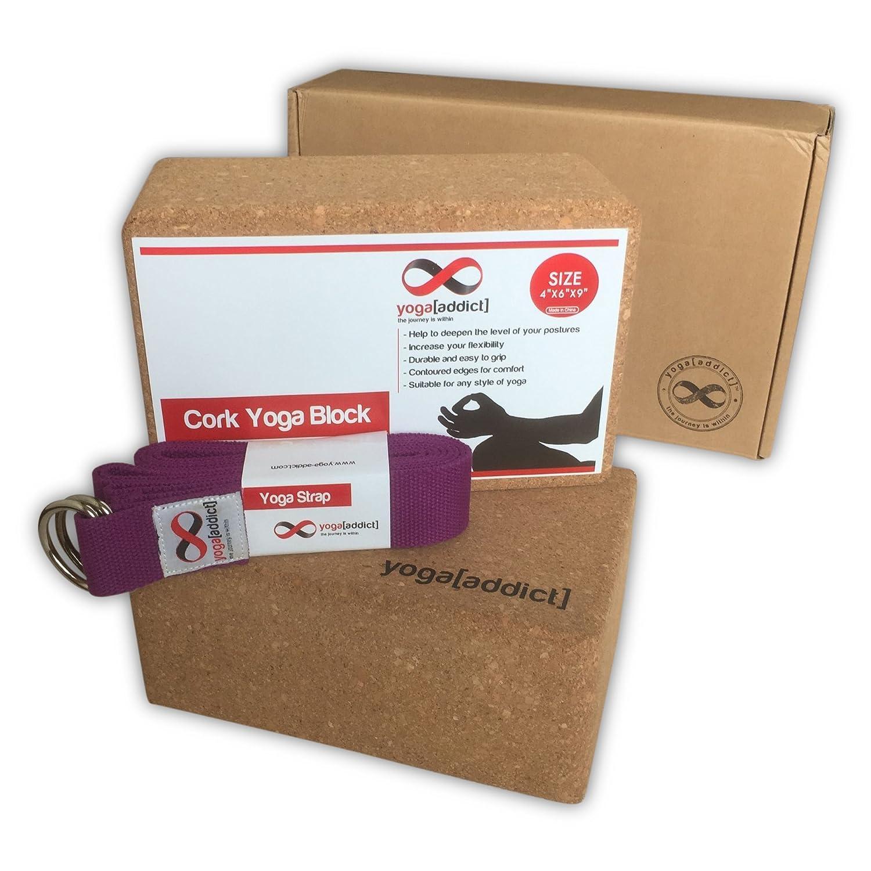 YogaAddict corcho bloques para Yoga 2 unidades y correa Set ...