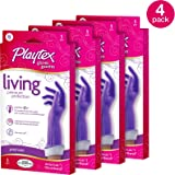 Playtex Living Reuseable Rubber Cleaning Gloves, Premium Protection (Small, Pack - 4)