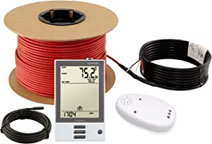 LuxHeat Floor Heating Cable Set, 40 Sqft 120v Electric Radiant Floor Heating System Under Tile, Laminate. Underfloor Heating Kit Includes Cable, Alarm, OJ Microline Programmable Thermostat with GFCI