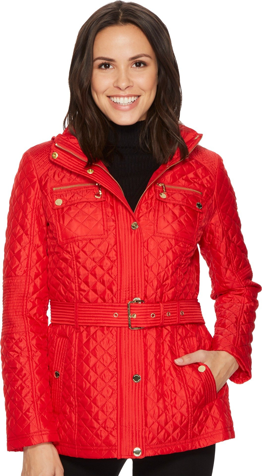 MICHAEL Michael Kors Womens Snap Front Belted Quilt M422715B74 Red SM One Size by MICHAEL Michael Kors
