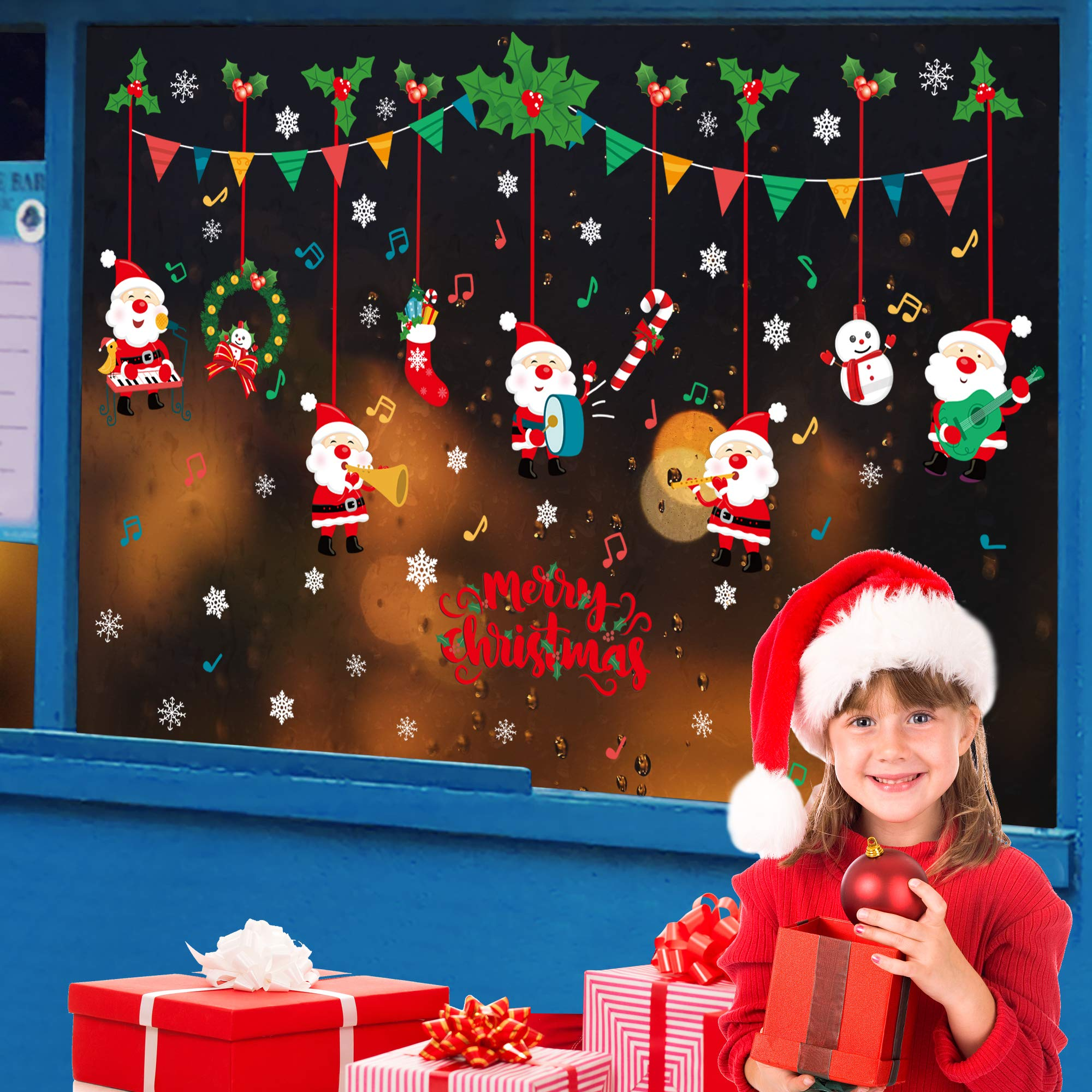 Christmas Decorations Clearance Christmas Window Clings Decal Stickers Party Snowflake Decorations,DIY Stickers Festival Suppliers!