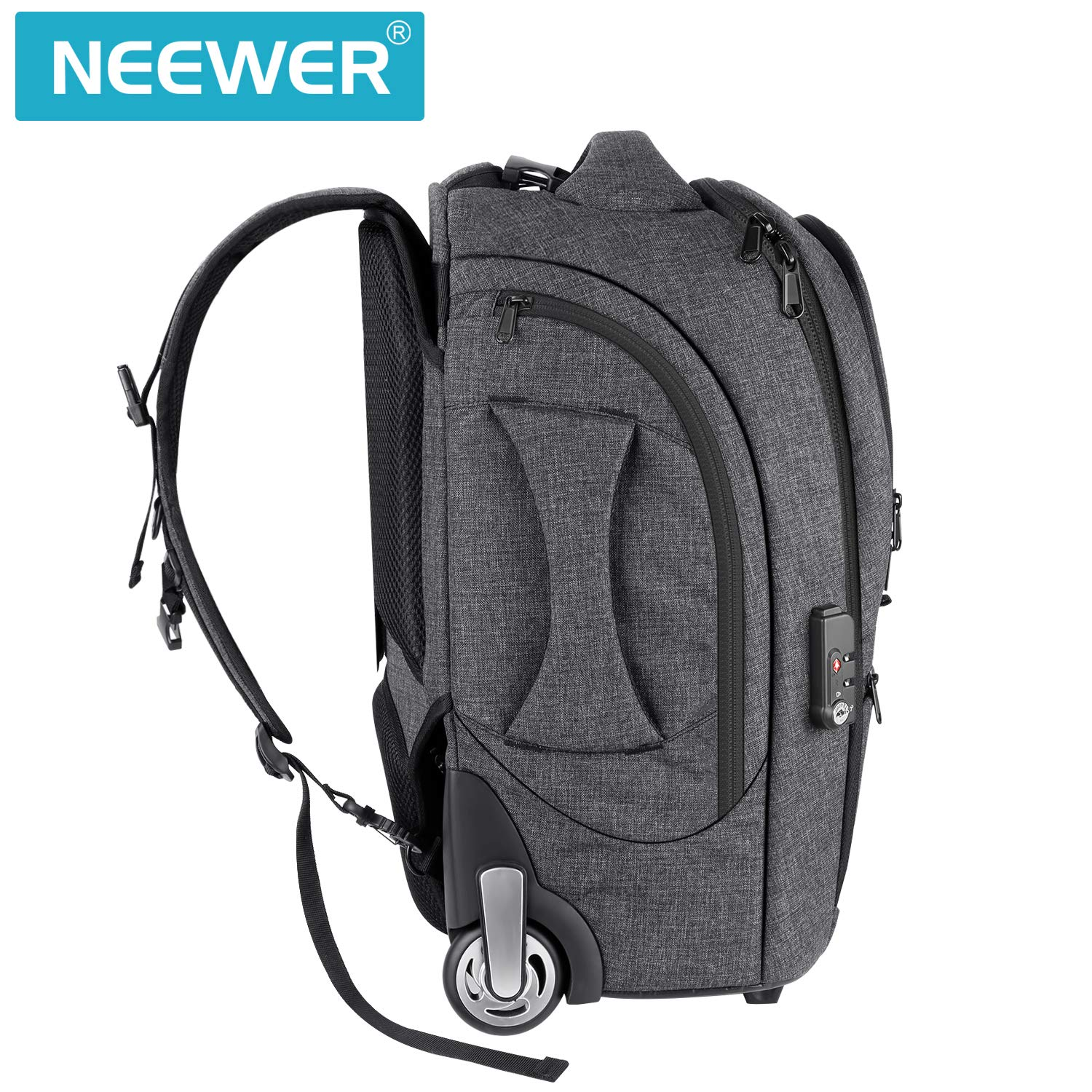 Neewer 2-in-1 Camera Rolling Backpack Trolley Case with TSA Lock, Anti-Shock Detachable Padded Compartment, Hidden Pull Bar, Durable, Waterproof for Lens, Lens Hood, and Tablet (Grey/Red) by Neewer (Image #3)