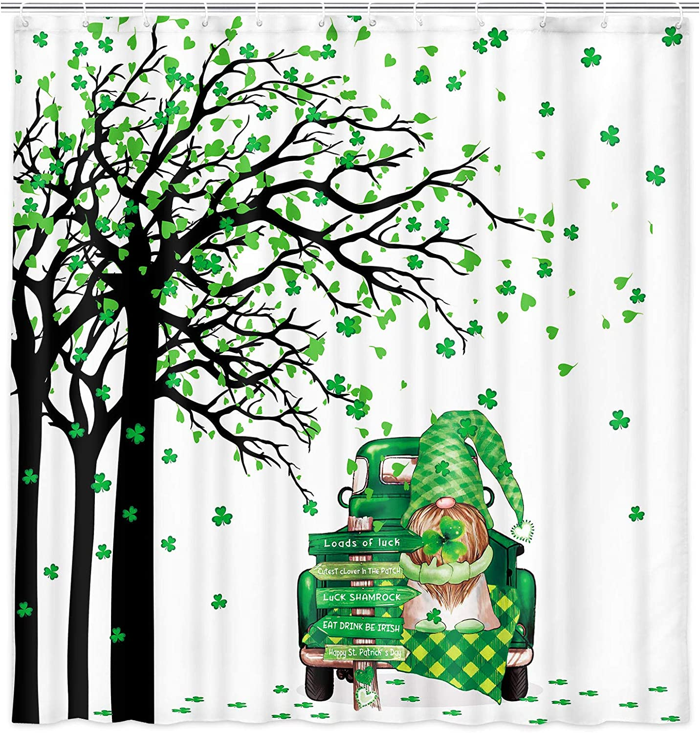 Retro St Patrick's Day Clover Leaf Tree Shower Curtain, Green Truck with Cute Gnome for Modern Farmhouse Fabric Shower Curtain Set, Buffalo Check Plaid Decor Cloth Bathroom Shower Curtains 71 Inch