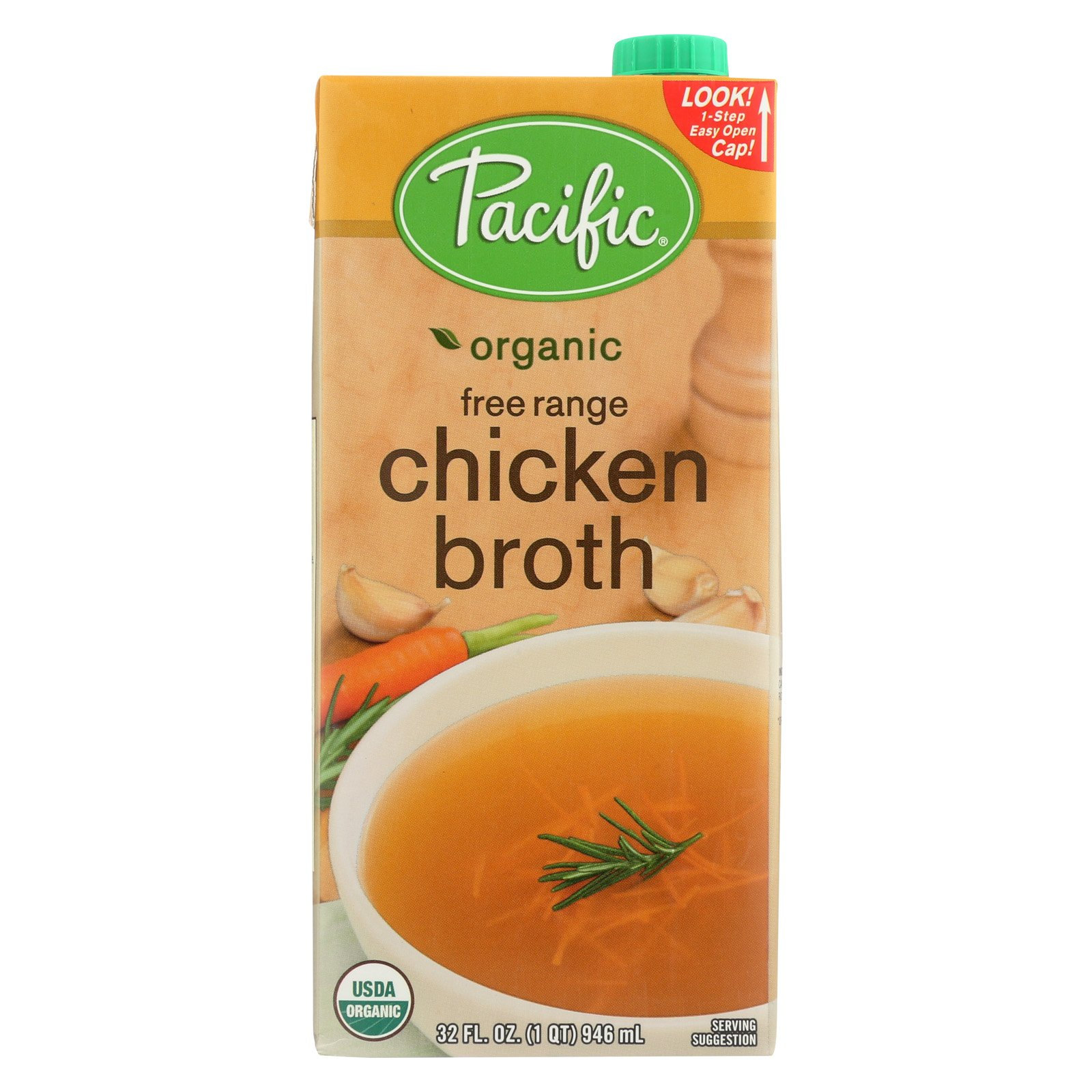 Pacific Natural Foods Chicken Broth - Free Range - Case of 12 - 32 Fl oz.