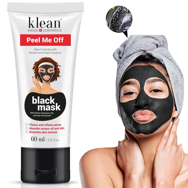 Masque Peel Me Off de Klean Cosmetics - Masque nettoyant contre l'acné noire et les points noirs - Pour une peau belle et soignée - Idéal pour le nez et le visage - Avec charbon actif, Aloea Vera, extrait d'avoine, romarin et rétinol supplémentaire - Swiss