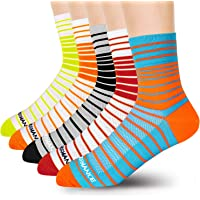 LIN Men's Stripes Cycling Socks -Moisture Wicking Athletic Crew Socks for Biking Running Sports 5 Pack