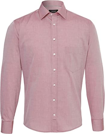 Hatico Chambray - Camisa de negocios para hombre rojo liso 46 ...