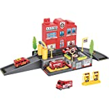 Fire Station Parking Garage Toy Playset with 4 Rescue Vehicles, Car Wash, Lift, Gas Station & Accessories