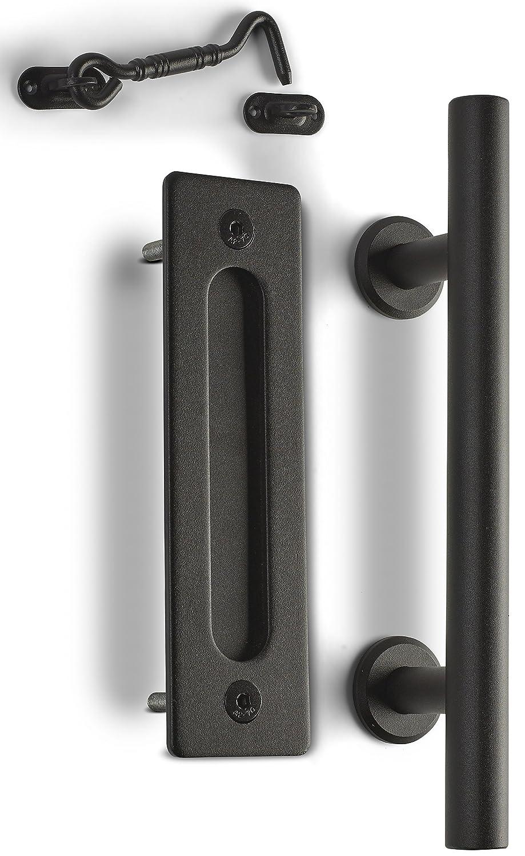 Caldwell Co. Sliding Barn Door Pull Handle Kit with Cabin Hook Latch & Flush Mount Plate - Heavy-Duty Modern Matte Black Hardware Set - Strong 12' Industrial Pull, Screws & Latch Lock CC-BDH-002