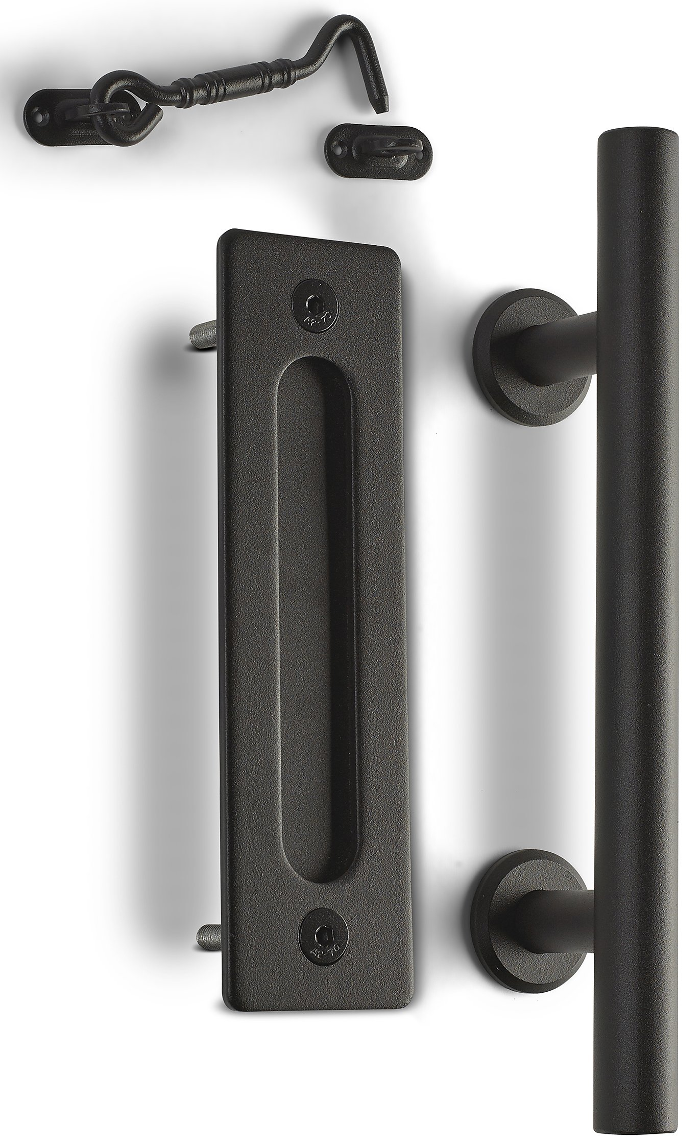 """Caldwell Co. Sliding Barn Door Handle Pull Kit with Flush Mount Plate & Cabin Hook Lock Heavy-Duty Modern Matte Black Hardware Set Strong 12"""" Industrial Pull & Privacy Latch"""