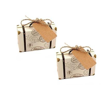 "Astra Gourmet 50pcs """" diseño de viaje maleta favor cajas + 50pcs etiquetas"