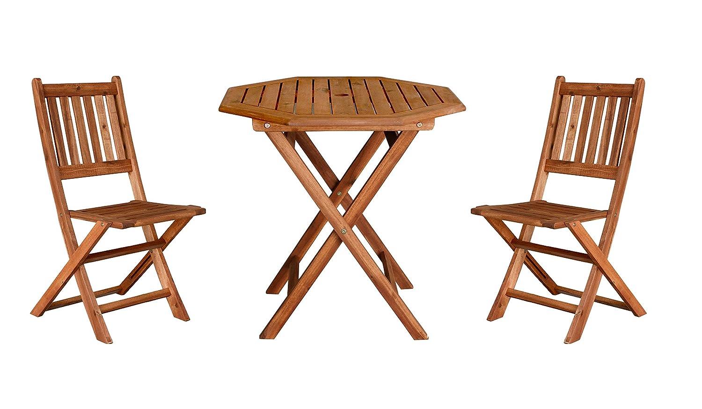 持ち運びに便利 折りたたみ コンパクトサイズ ガーデンテーブルセット 3点 (八角テーブル幅70&肘無しチェア2脚) / ガーデンファニチャー 折り畳み式 木製 アカシア 天然木 B07F6SMY9J