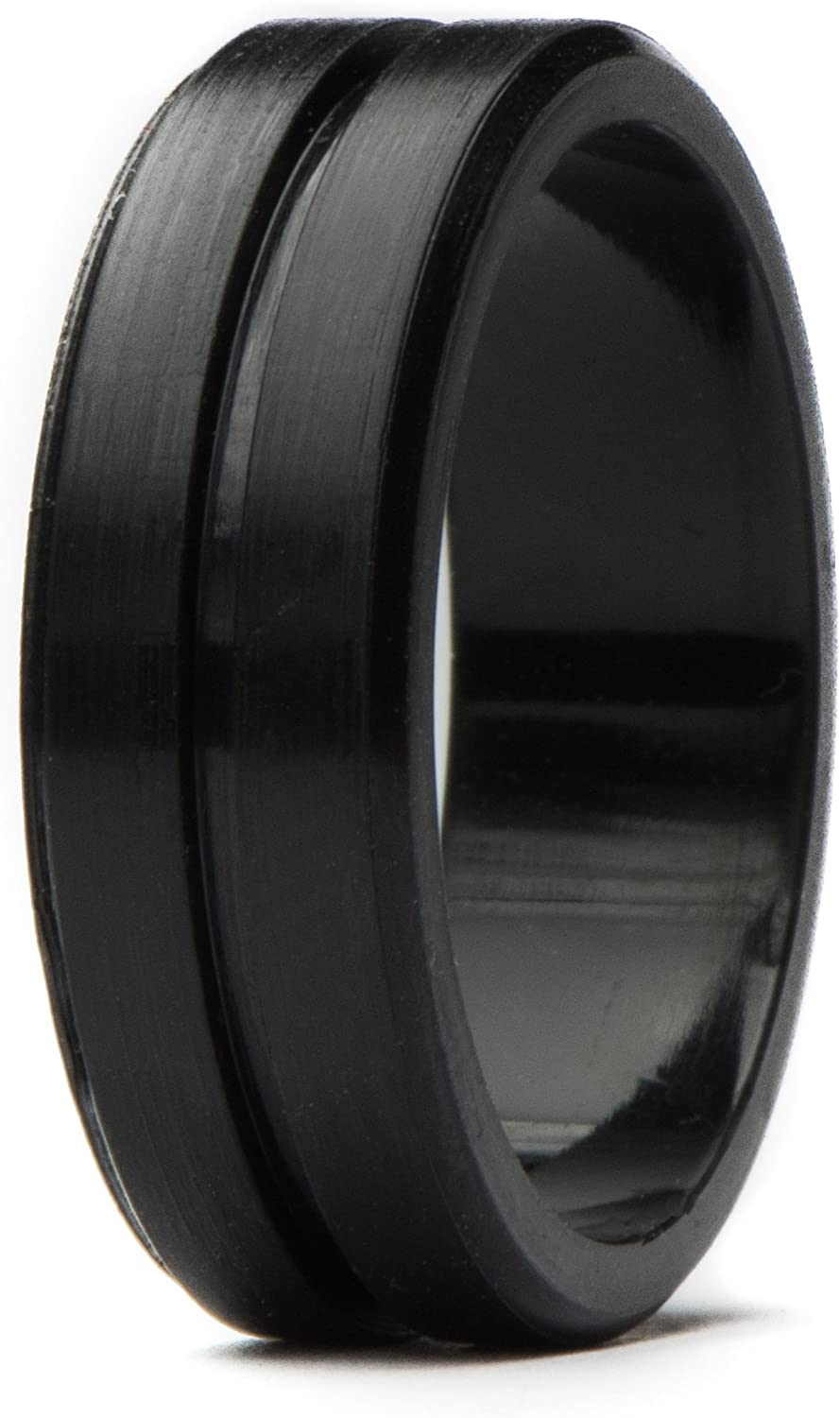 Unii Silicone Wedding Ring | Safety Rubber Wedding Band | Athletic Ring for Active Men | Thin Groove Ring 7mm Wide | Best Alternative for Work, Mechanics, Sports, Workout Ring