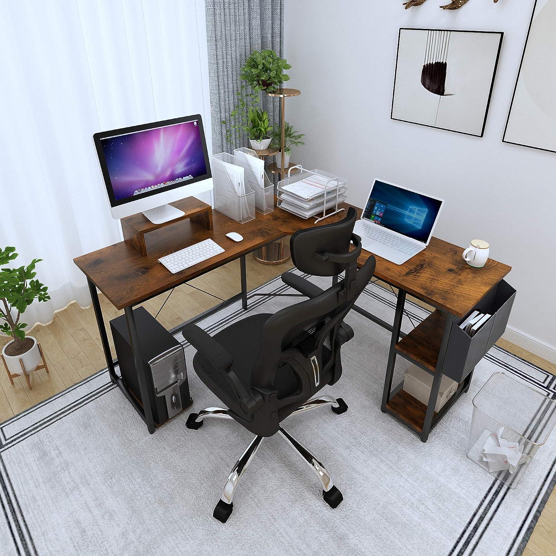 Table de jeu avec sac de rangement Magic Life Bureau dangle en forme de L de 56 pouces avec support de moniteur en bois et support pour CPU