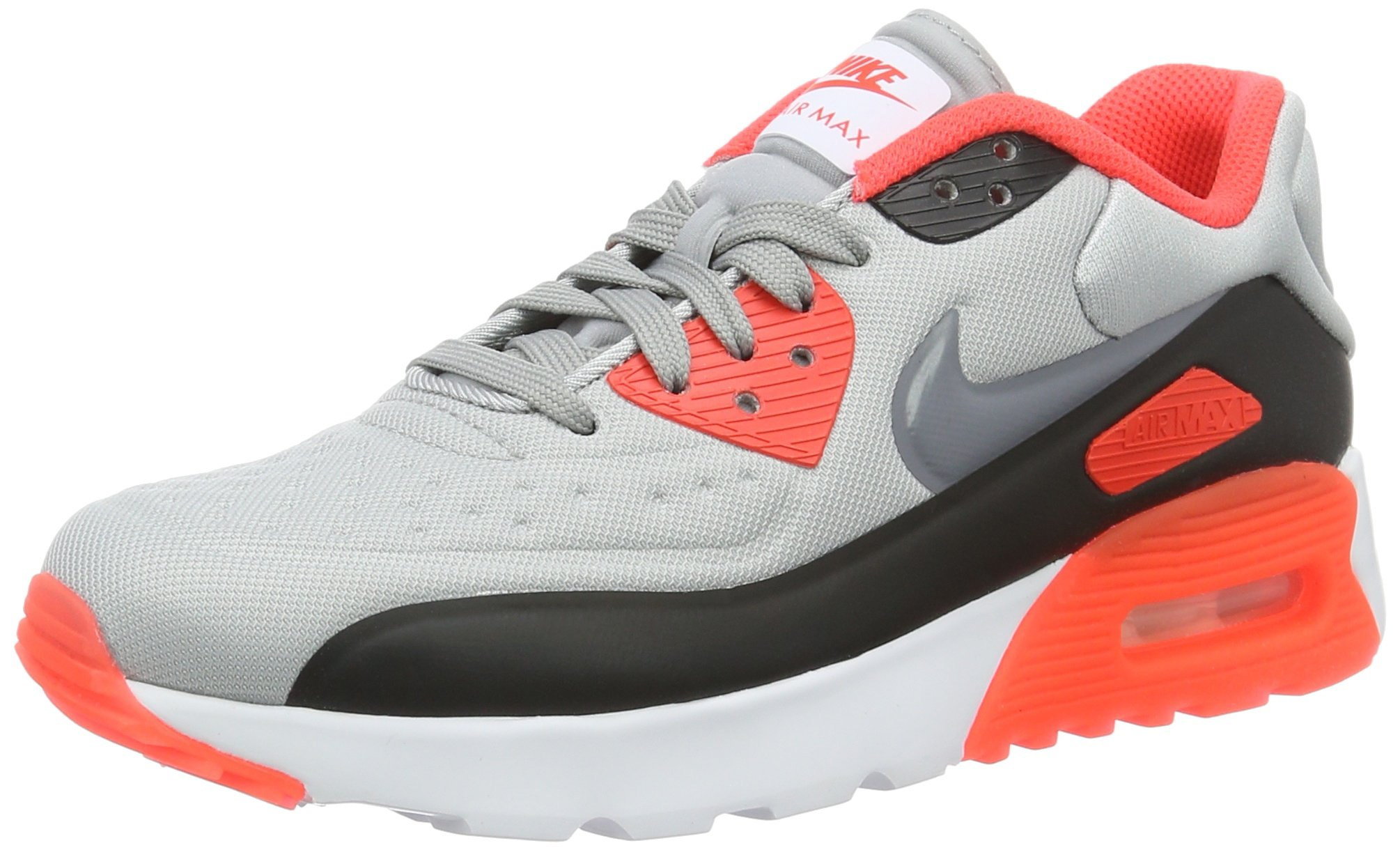 Nike Kid's Air Max 90 Ultra SE GS, WOLF GREY/COOL GREY-BRIGHT CRIMSON-BLACK, Youth Size 5