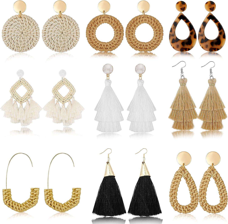 Hazms 9 Pairs Rattan Earrings Tassel Earrings for Women Girls Lightweight Acrylic Geometric Statement Woven Bohemian Earrings Handmade Straw Wicker Braid Hoop Drop Dangle Earrings