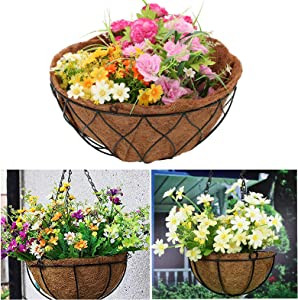 Coco Liners for Planters, Hanging Trough Planter Trough Coco Liner for Window Coconut Coir Box Garden Flower Vegetables Pot Fence Flower Baskets (Round- 24 inch)