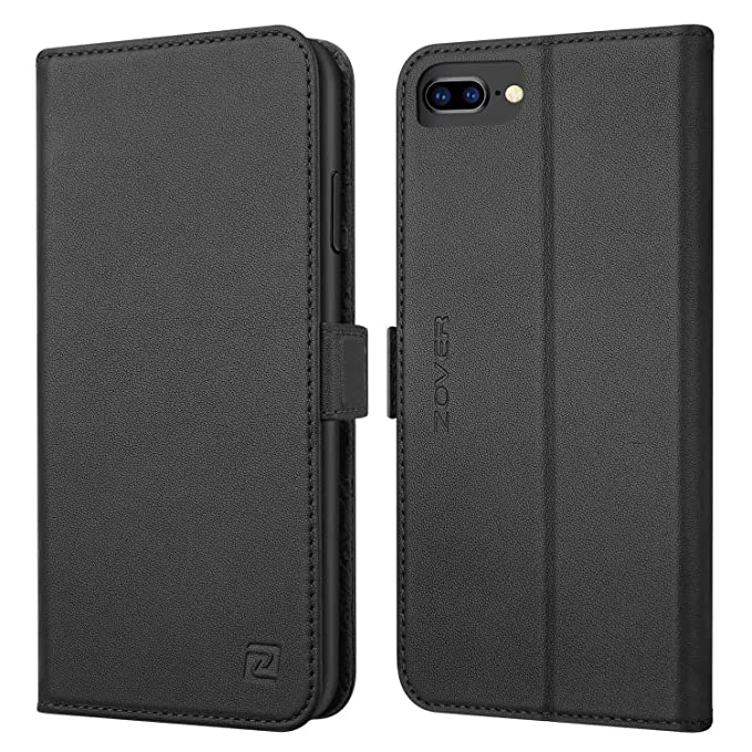 huge selection of 20b52 a97d1 iPhone 8 Plus case iPhone 7 Plus case ZOVER Genuine Leather Case Wallet  Cover with Kickstand Feature Card Slots & ID Holder and Magnetic Clasps for  ...