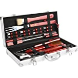 FEMOR 18 Pieces BBQ Grill Tool Set in Aluminium Case,Complete Outdoor Barbecue Tool Kit