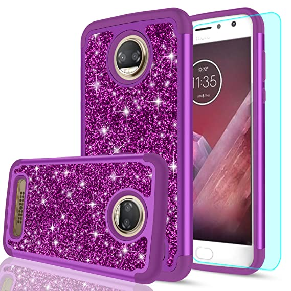 the best attitude 7339d f934f Moto Z2 Play Glitter Case HD Screen Protector Girls Women,LeYi Luxury Bling  [PC Silicone Leather] Heavy Duty Protective Phone Case Motorola Z2 Play ...