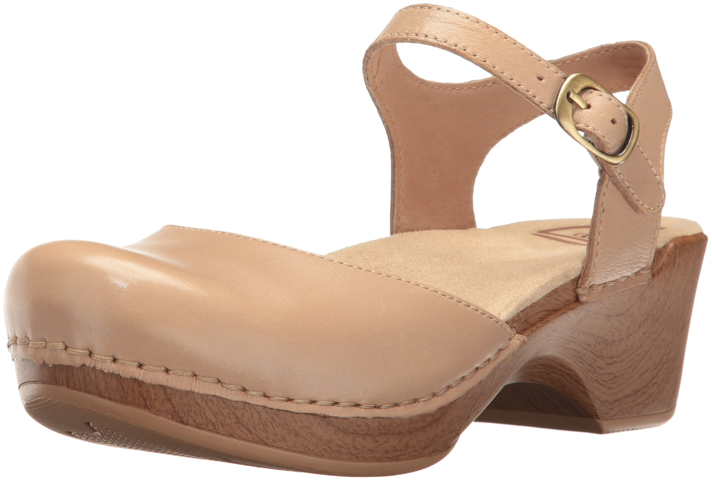 Dansko Women's Sam Flat Sandal, Sand Dollar Full Grain, 37 EU/6.5-7 M US