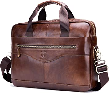 Vintage Mens Cowhide Leather Briefcase Business Messenger Laptop Bag Tote Brown
