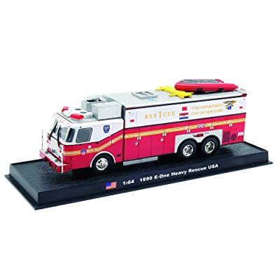E-one Heavy Rescue Fire Truck Diecast 1:64 Model (Amercom GB-4): Sports & Outdoors