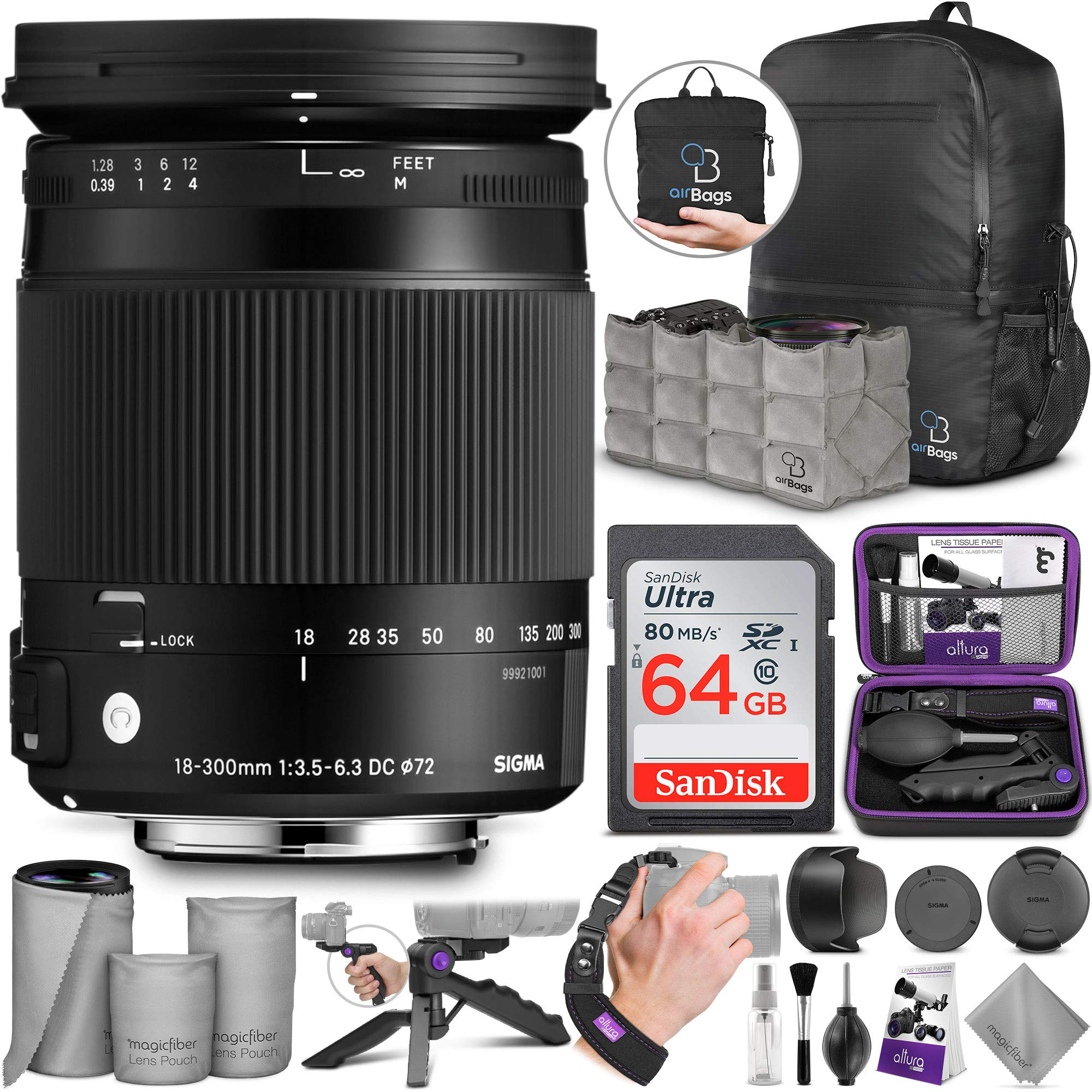 Sigma 18-300mm F3.5-6.3 Contemporary DC Macro OS HSM Lens for Canon DSLR Cameras with Altura Photo Advanced Accessory and Travel Bundle by Sigma
