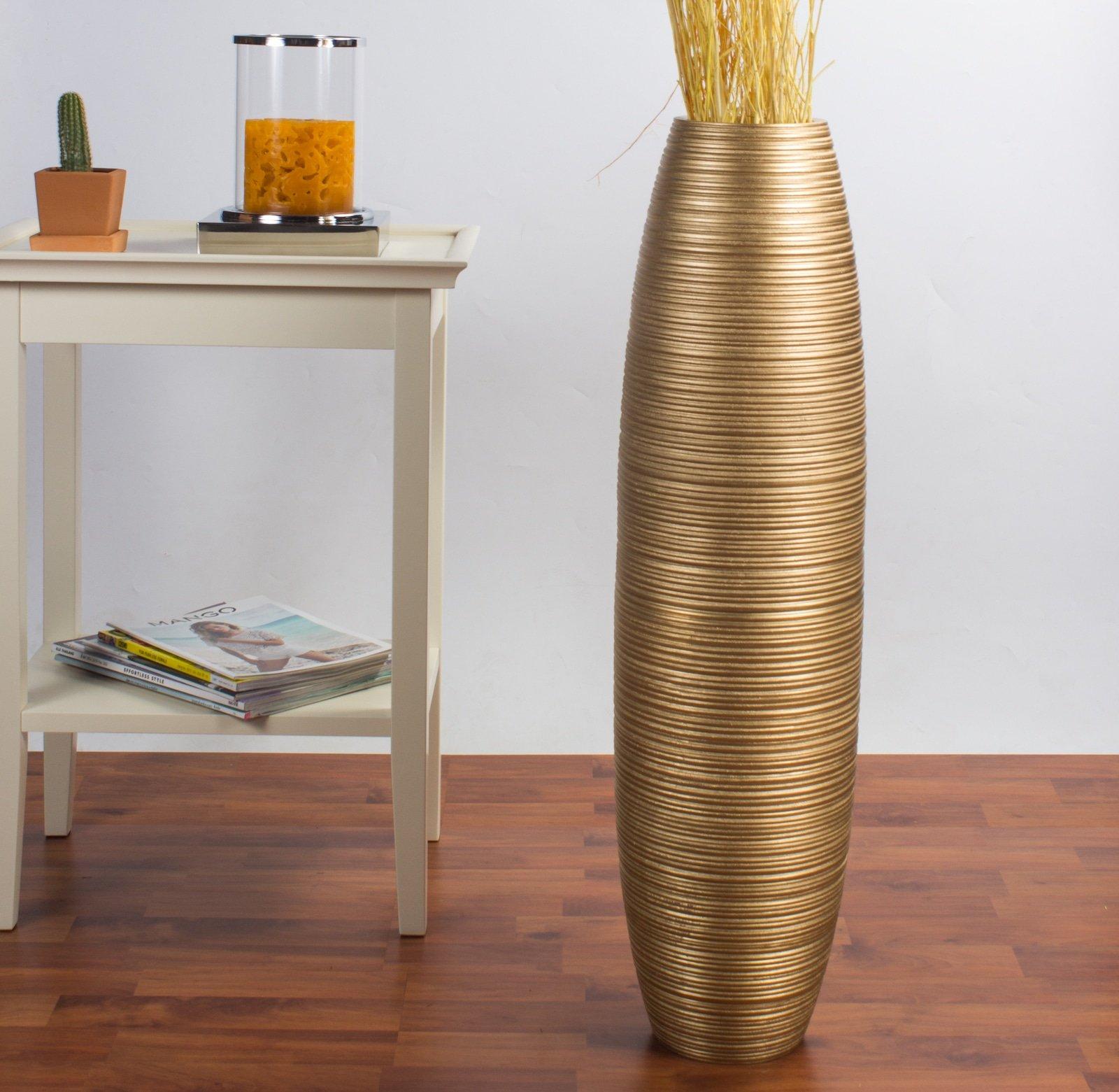 Leewadee Tall Floor Vase 30 inches, Wood, Gold