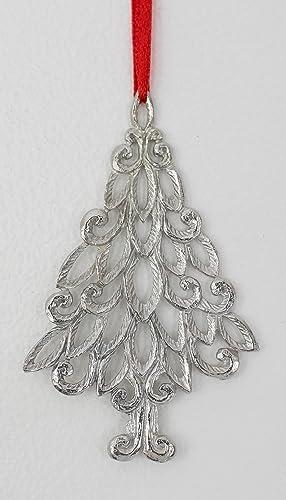 Amazon.com: House of Morgan Pewter Christmas Tree Ornament 1019 ...
