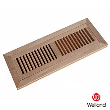 Welland 4 Inch X 14 Inch Red Oak Hardwood Vent Floor Register Flush