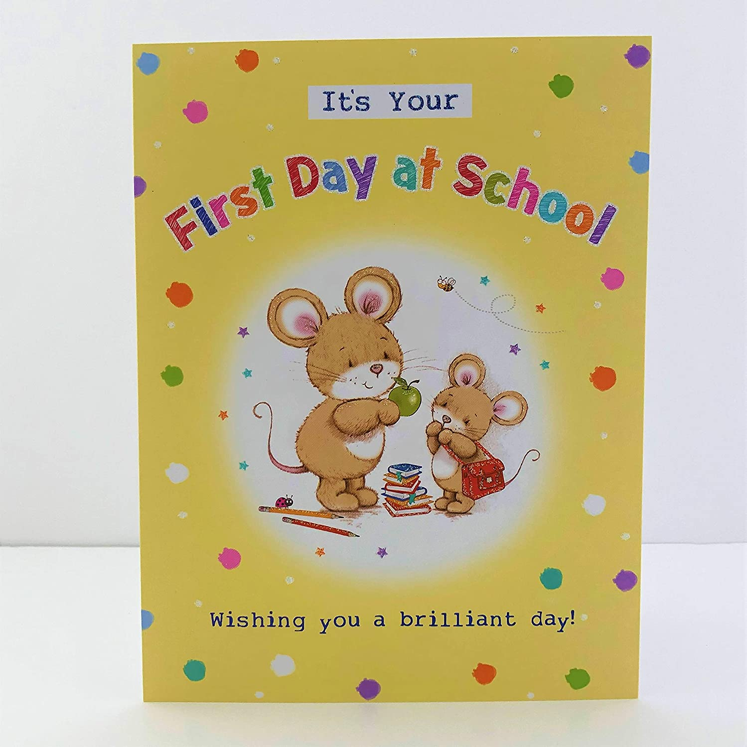 Its Your First Day at School Wishing You A Brilliant Day Card Mouse